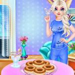 Elsa Rainbow Donuts Cooking